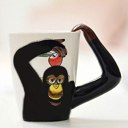ZSQQSCL caffè Latte Tazza di Ceramica,caffè Latte Coppa in Ceramica Mug, 3D Cartoon Carino Scimpanzé di Tazze, Cioccolata Calda tè caffè Mug 400Ml per Mattina Bere, Office Essentials Festa di Complea