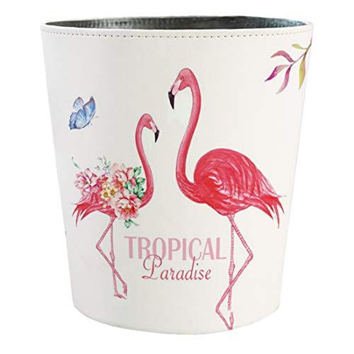 Mecotecn Papierkorb, 10L PU Leder Papierkorb Kinder Mülleimer Mit Flamingo Motiv, Papierkorb für Kinderzimmer/Büro/Wohnzimmer