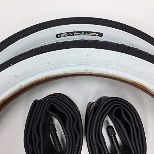 CST 2X Weißwand Reifen 16 Zoll + AV Schläuche + 2 Schmutzfänger SchutzblechDecke Mantel Fahrrad Klapprad 16 x 1.75 | 47-305