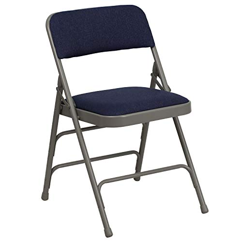 Flash Furniture HERCULES Series Curved Triple Braced amp Double Hinged Navy Fabric Metal Folding Chair