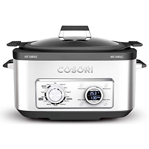 COSORI 6 Qt 11-in-1 Programmable Multi-Cooker Pot, Slow Cooker, Rice Cooker, Brown, Saute, Boil, Steamer, Yogurt Maker, Auto-Warmer, Delay Timer, 86°F-400°F, Stainless Steel, Cookbook, 2-Year Warranty