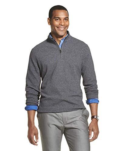 Van Heusen Men's Slim Fit Never Tuck Long Sleeve 1/4 Zip Solid, Black, Large