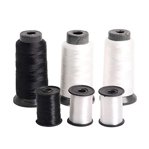 YUEWO 6 Rolls of Bonded Cotton & Nylon White/Black Sewing Thread for Shoe Repair Machine Leather Denim Hand DIY Craft...