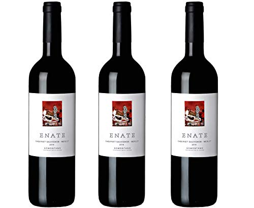 Bodega Enate Cabernet Sauvignon - Merlot - Añada 2018 - D.O. Somontano - Vino Tinto - Uva Cabernet Sauvignon y Merlot - Elegantes Matices Florales - Pack de 3 Botellas - 75cl