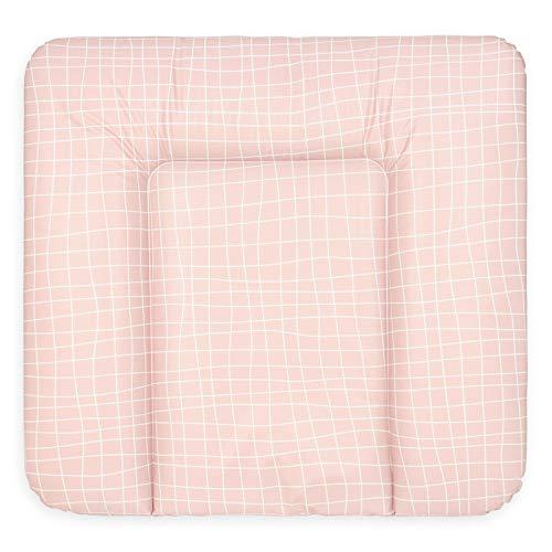 Bonky Wickelauflage weiche Wickelunterlage Baby Wickeltischauflage Abwaschbar 70x75 Gitter Rosa