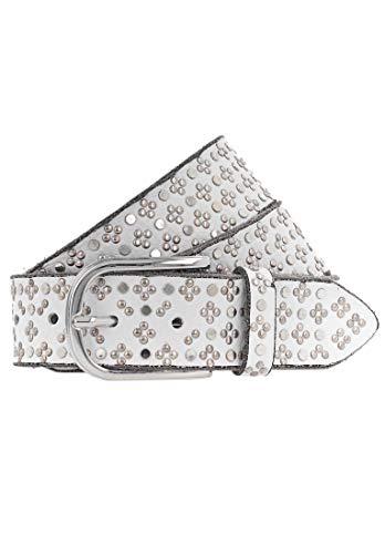B.Belt TINI Silver - Cinturón de piel con tachuelas Blanco 85 (Ropa)