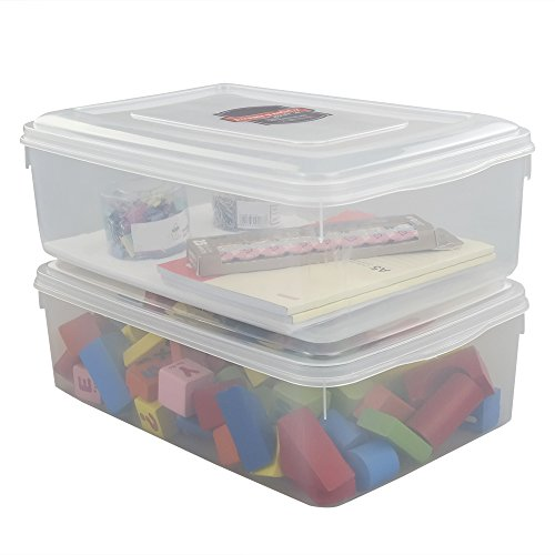 Pekky 11 Quart Plastic Toys Storage Containers with Lid, Clear Bin Set of 2