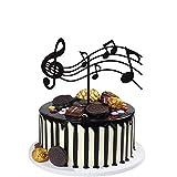 Insert de gâteau de note de musique, décoration de fête de thème de musique de fête d'anniversaire, notes de gâteau pour enfants, adultes, filles, garçons (notes du personnel) (noir)