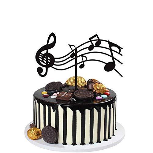 Notas musicales para tartas acrílicas, decoraciones para tartas de guitarra, temática musical para fiestas de cumpleaños, decoración para magdalenas de roca, color negro