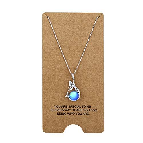 Wristchie - Collana da donna con ciondolo a forma di sirena, in argento Sterling 925, con perle di cristallo, 45,7 cm + 5,1 cm e Argento, colore: Blu, cod. DZ038-ALL3