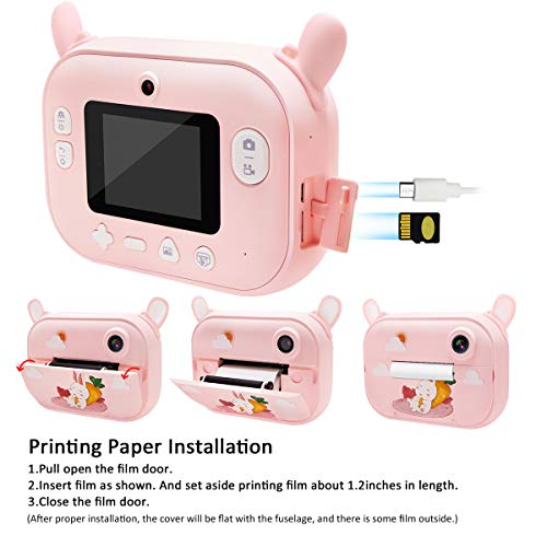 Instant Print Camera for Kids, Girls Zero Ink Print Photo Selfie Video Digital Camera with Paper Film, 3-12 Years Old Children Mini Learning Toy Camera Gifts for Birthday Holiday Travel (Pink)