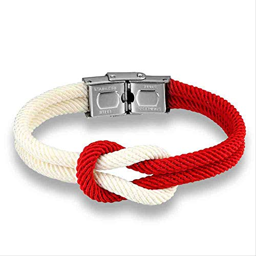 JYHW High Quailty Men Women Macaron Color Knot Leather Stainless Steel Buckle Navy Style Friendship Jewelry Pulseras  Red White 19CM,Red White 19CM