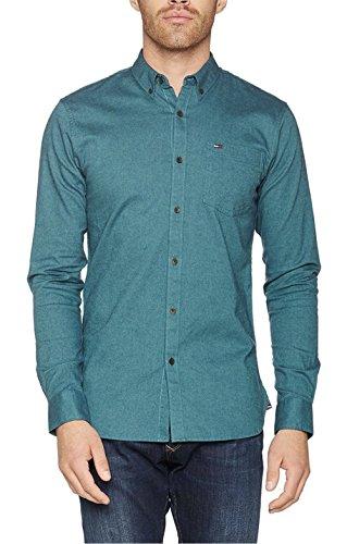 Tommy Jeans Herren SHIRT Langarm Slim Fit Freizeithemd Blau (True Navy 425) Small
