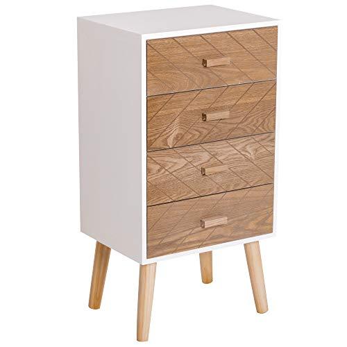 HOMCOM Meuble de Rangement chiffonnier Design scandinave 40L x 30l x 75H cm 4 tiroirs Bois Massif pin MDF Blanc et hêtre Motif Graphique