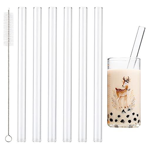 Cannucce in vetro riutilizzabili, 6 pezzi 14mm dritti Cannuccia e 1 spazzola per la pulizia, Cannucce di Vetro Trasparenti per Cocktail, frullati, tè alle bolle