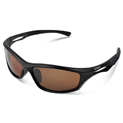 Duduma Polarized Sports Sunglasses for Running Cycling Fishing Golf Tr90 Unbreakable Frame (Black Matte Frame with Brown Lens)