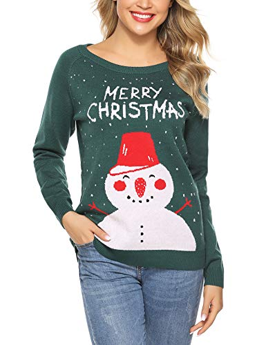 Aibrou Sueter de Navidad para Mujer,Jersey de Punto Cuello Redondo Clásico Vintage Monigote de Nieve,Copo de Nieve,Merry Christmas,Suéter de Navidad de Invierno (Verde L)