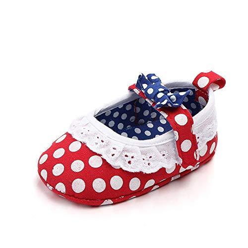 XYAN Punkt-Schmetterlings-Knoten-Spitze-Rand Magic Tape weiche Unterseite Anti-Rutsch-Babyschuh Indoor Princess Schuhe (Farbe : Rot, Size : 13cm)