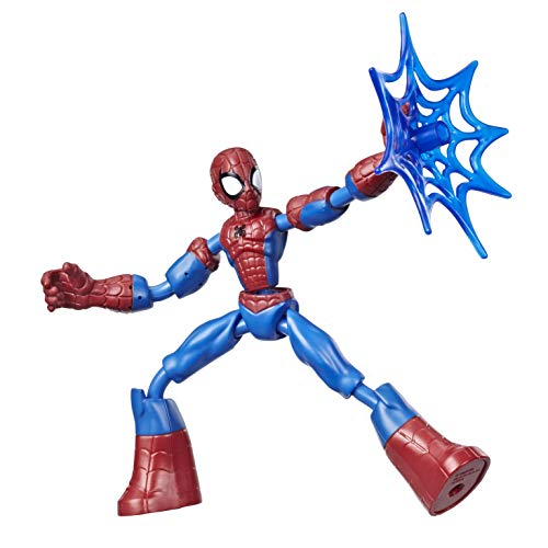 MARVEL Bendable and Articulated Spider-Man Action Figure, 15 cm Poseable Figure, Includes Mesh Accessory, for Kids 6 Years and Up
