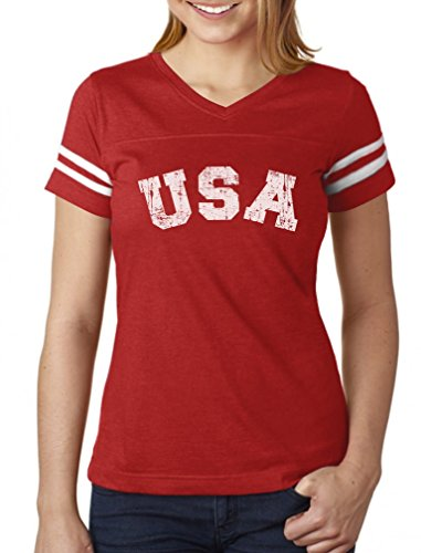 USA 4th of July Shirt for Women Patriotic Retro American Football Jersey Tshirt Medium red/White
