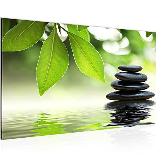 Bild Feng Shui Steine Wandbild Vlies - Leinwand Bilder XXL Format Wandbilder Wohnzimmer Wohnung Deko Kunstdrucke Grün 1 Teilig - MADE IN GERMANY - Fertig zum Aufhängen 501114a