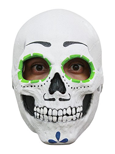 Mexikanischer Totenschädel Halloween Latex Maske Sugar Skull weiss bunt