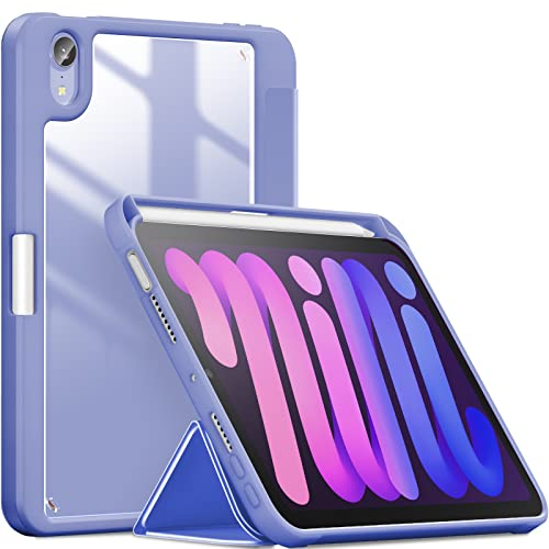 INFILAND Compatible iPad Mini 6 Funda Generación, iPad Mini 2021, iPad 8.3 Inch 2021 Cover Soporte,[Auto-Reposo/Activación Cubierta] [Trasera Transparente] [Carcasa Ligera] -(Púrpura)