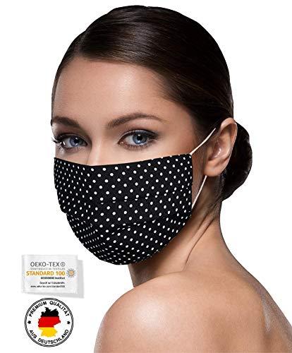 Unisex schwarze Stoffmasken Mundschutz Maske Stoff 100% Baumwolle schwarze Mund Nasen Schutzmaske mit Motiv Mund und Nasenschutz Maske waschbar...