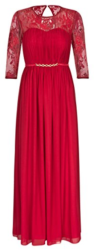 Lautinel Abendkleid Ballkleid Festkleid Hochzeitskleid Langarm Chiffon 995 (44, Rot)