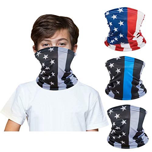 [3 Pack] Kids Sun UV Protection Face Bandanas, Breathable Cloth Fabric Neck Gaiter for Outdoor Sports Cycling, Reusable Washable Half Mask Scarf Children Teens Balaclava for 3-12 Years Boys Girls-4