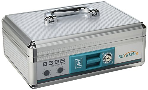 Portable Aluminum Cash-Box with Lock and Carrying Handle B398