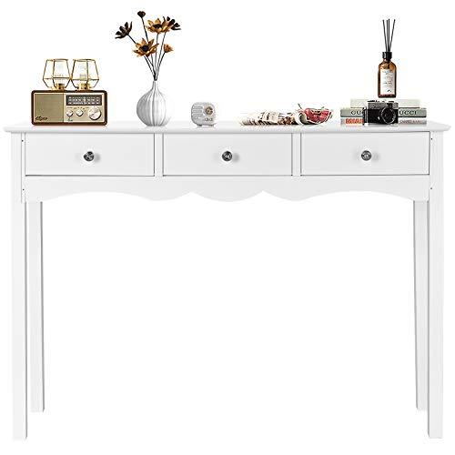 DREAMADE Konsolentisch mit 3 Schubladen, Flurtisch aus Holz, Beistelltisch mit Hoher Belastungskapazität, Ablagetisch Wohnzimmertisch im Landhausstil, für Wohnzimmer Schlafzimmer, Weiß