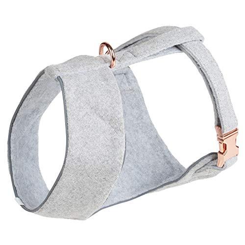 Thoroughbeds – Graues Hundegeschirr aus Tweed, mit Schließe in Roségoldfarben – Verschiedene Größen
