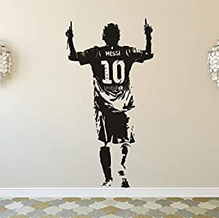 Yasrt Removable Vinyl Decal Art Mural Home Decor Wall Stickers Messi Football Star Home Decor Messi Football Club Player Boys Gift