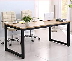 ☛●【Simple Style】Industrial simple style fits all people. The computer desk exterior level off, smooth, keeping original wood texture, black metal frame modern and stylish. ☛●【Material】Environmentally-friendly particleboard and stainless steel metal f...