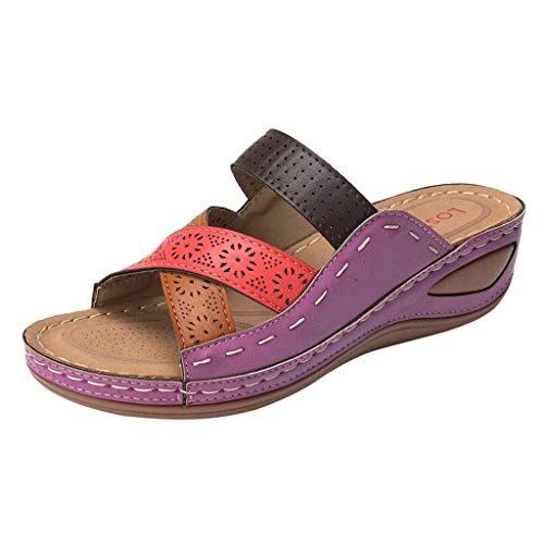 haoricu Sandal Shoes, Women Premium Orthopedic Open Toe Sandals Vintage Anti-Slip Breathable for Summer (11.5, Purple)