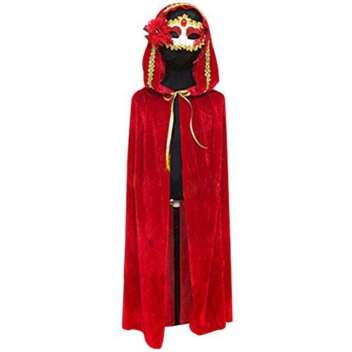 Skyblue-UK - Travestimento per carnevale o Halloween, mantello in velluto con cappuccio, stile gotico medievale, per vampiro, strega Red Taglia unica