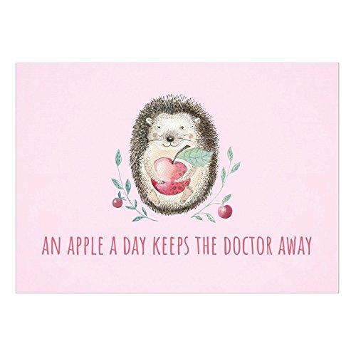 Große DIN A5 Postkarte mit Umschlag/Igel mit Apfel, niedlich/Wünsche zur Genesung/Gute Besserung/Krank / Gesundheit/Krankenhaus
