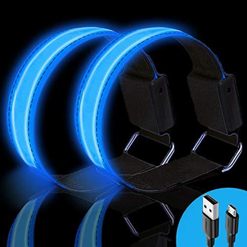 Alintor LED Armband Aufladbar, 2 Stück Grün Leuchtband mit USB, Reflektoren Kinder Leuchtarmband, Lauflicht für Laufen Joggen Hundewandern Running Outdoor Sports Fahrradzubehör