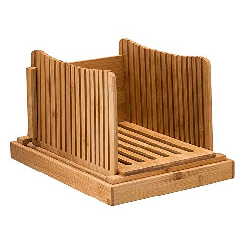 Broodsnijmachine, bamboe opvouwbare broodsnijgids met kruimelvanger, zelfgebakken compacte snijplank voor broden, cakes en brood