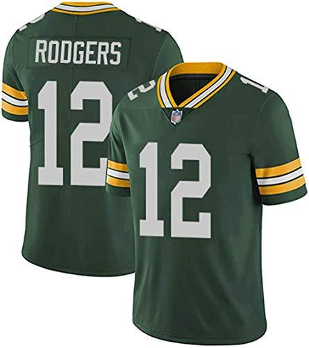 xjpgkd Herren American Football Trikot # 12 Aaron Rodgers Green Bay Packer Fans Sweatshirt Rugby Trikot Atmungsaktive Stickerei -Grün_Groß