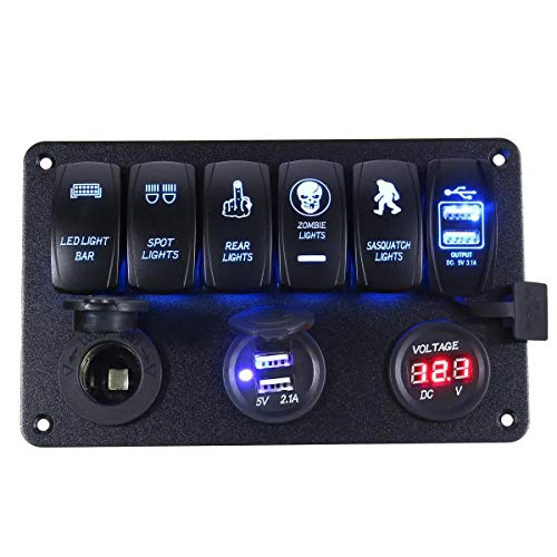 FOUCAII Interruptor de Circuito Cargador voltímetro 6 cuadrilla LED Interruptor oscilante USB del Panel for la Motocicleta del Barco del Coche 12-24V luz Marina