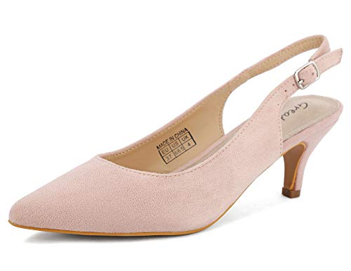 Greatonu Greatonu Spitz Sandalen Slingback Kitten Absatz Pointed Toe Pink EU39