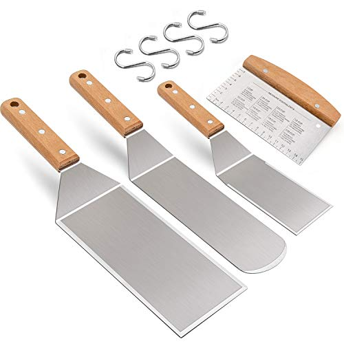 Learn More About Leonyo Wooden Handle Metal Spatula Set of 4, Stainless Steel Griddle Accessories - ...