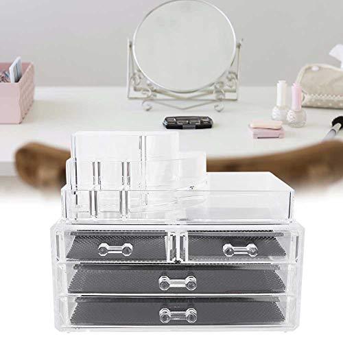 Organisateur de Maquillage, Caisse cosmétique, Support cosmétique Transparent de boîte de Stockage de Maquillage de Bijoux d'acrylique Transparent avec Le tiroir