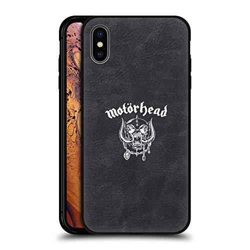 Head Case Designs Offizielle Motorhead Snaggletooth Logo Schwarze Leder Rueckseiten Huelle kompatibel mit Apple iPhone XS Max