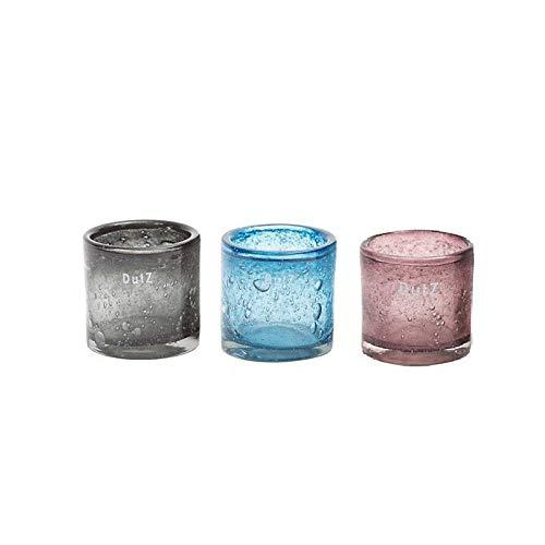 CRISTALICA Kerzenhalter Teelicht Windlicht Votiv mundgeblasen Glas Zylinder 7cm Lila Rot