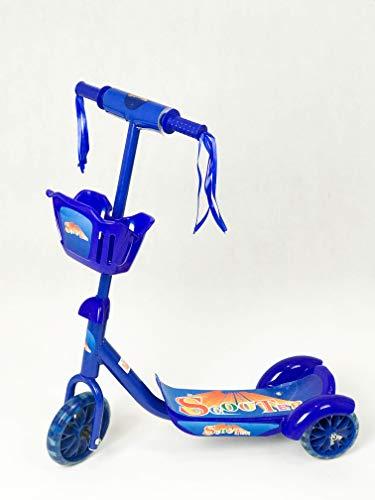 GIL-Design Roller aus Metall für Jungen und Mädchen Blau Scooter dreirädriger Belastbarkeit Maximal 30 kg für Kinder ab 3 Jahren Roller mit einem Korb PVC-Griffe rutschfeste Basis Kinderroller