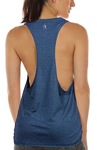 icyzone Sueltas y Ocio Camiseta sin Mangas Camiseta de Fitness Deportiva de Tirantes para Mujer (M, Mezclilla)