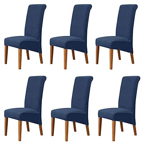 JJYY Funda de Terciopelo para sillas de Comedor, elástica, Suave, Antideslizante, para sillas de Cocina, extraíble, Moderna, Universal, Lavable, para sillas de restaurante-Navy-6PCS